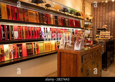 The inside of the Yunhong Chopsticks store on Mott Street in Chinatown, Manhattan, New York City. - Stock Photo
