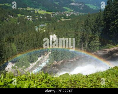 Rainbow over the Krimml Waterfalls (Krimmler Wasserfälle) in the High Tauern National Park, Austria