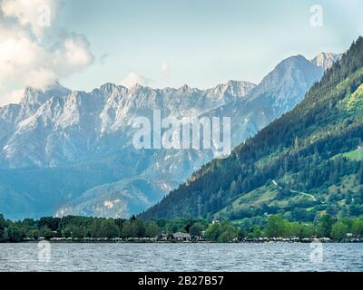 View of Zeller See from Zell am See, Austria - Stock Photo