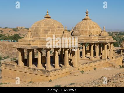Jaisalmer, Rajasthan, India- Feb 17,2020. A View Of Royal Cenotaphs In Bada Bagh - Stock Photo