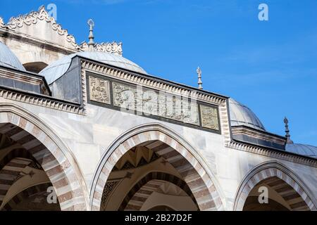 Istanbul / Turkey - 01/20/2019: An exterior detail from the outer surroundings of Suleymaniye Mosque. - Stock Photo