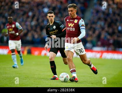 LONDON, UNITED KINGDOM. MARCH 01 Jack Grealish of Aston Villa during Carabao Cup Final between Aston Villa and Manchester City at Wembley Stadium, London, England on 01 March 2020 Credit: Action Foto Sport/Alamy Live News - Stock Photo