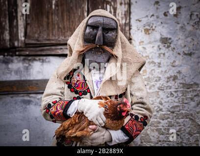 Portrait of a man dressed in 'buso' costume holding a chicken during the annual buso festivities in Mohacs, Southern Hungary - Stock Photo