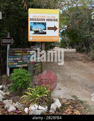 Misson House entrance signs in Bodden Town - Stock Photo