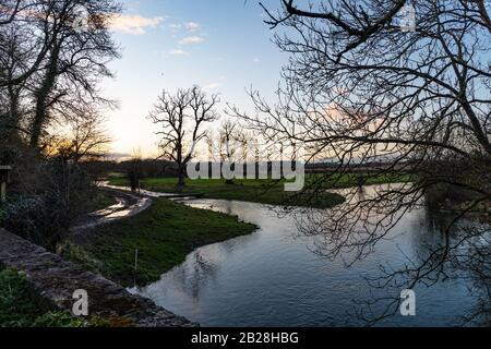 Pictures Taken Near The Source Of The Thames Walk Near To The Village of Kemble In The Cotswolds in England  After The Recent Flooding in Parts of uk. - Stock Photo