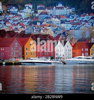 Bergen wharf Norway Baltic Sea - Stock Photo