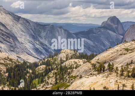 View of the Half Dome from Olmsted point. Yosemite National Park, California, USA. - Stock Photo