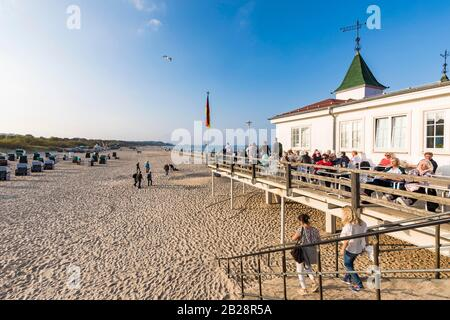 Terrace, restaurant and bar on the historic pier, Ahlbeck, seaside resort, Baltic Sea, island of Usedom, Mecklenburg-Vorpommern, Germany - Stock Photo