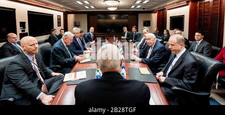 Washington, United States Of America. 26th Feb, 2020. Vice President Mike Pence meets with the PresidentÕs Intelligence Advisory Board Wednesday, Feb. 26, 2020, in the White House Situation Room People: Vice President Mike Pence Credit: Storms Media Group/Alamy Live News - Stock Photo