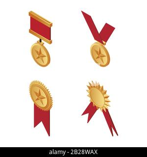 Gold trophy medals with red ribbons isometric illustration isolated on a white background. Golden award, victory, success, reward, icons. First place, and triumph concept. - Stock Photo
