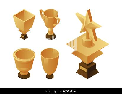Set of golden cups and trophies on wooden pedestal. Gold awards vector isometric illustration. Professional and sports achievements concept. Winner, leader, and triumph icons. - Stock Photo