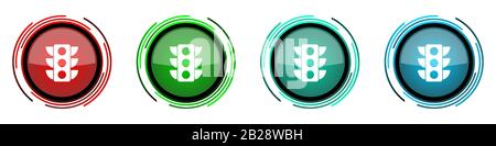 Traffic lights round glossy vector icons, set of buttons for webdesign, internet and mobile phone applications in four colors options isolated on whit - Stock Photo