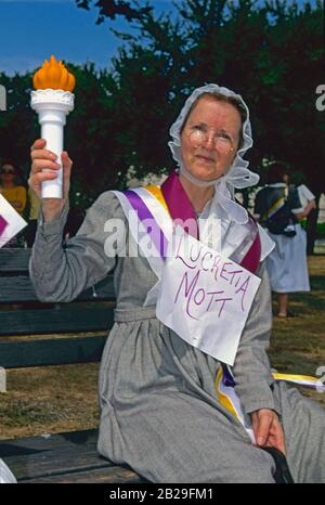 Washington DC. USA,  August 26th, 1995 75th Anniversary rally and march celebrating the passage of the 19th amendment which was ratified on August 18th 1920 giving women the right to vote. Historical re-enactor portraying Lucretia Mott attends the rally Credit: Mark Reinstein/MediaPunch - Stock Photo