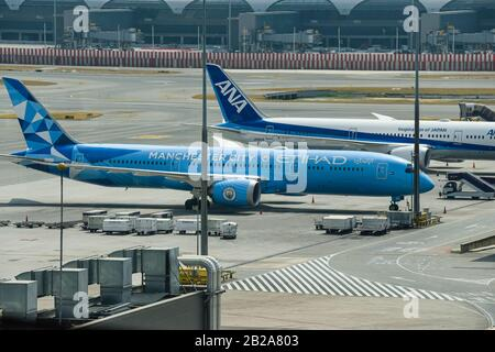 Manchester City themed Etihad Boeing 787-9 Dreamliner A6-BND at Bangkok Airport, Thailand. - Stock Photo