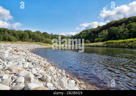 The River Wharfe flows through  Lower Grasswood at Grassington in the Craven district of North Yorkshire