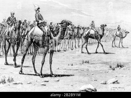 The drawing shows the British Camel Rider Corps under General Gordon shortly before a battle against the Mahdi's Army. The Mahdi uprising between 1881 and 1898 was a rebellion led by Muhammad Ahmad against Anglo-Egyptian rule in the Sudanese provinces. It was only in 1898 that the British succeeded in finally destroying the Mahdi's state. - Stock Photo