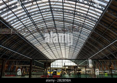 Close up view of the rooftop structure at St. Pancras Railway Station in London, England - Stock Photo