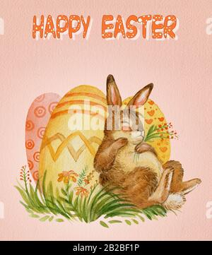 Watercolor postcard of a slipping rabbit with easter eggs ang flowers stock illustration. Easter bunny characters vintage illustration isolated on pin - Stock Photo