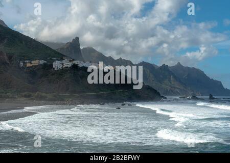 Tenerife, Canary Islands, Spain. Western coast view, mountain Anaga and costal village Almaciga. - Stock Photo