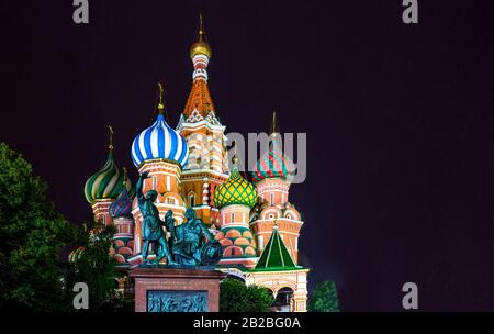 Russia, Moscow, Red Square, night view of the St Basil's Cathedral