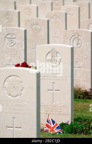 Bayeux War Cemetery - British Cemetery, Second World War, Bazenville, Calvados, Normandy, France, Europe - Stock Photo