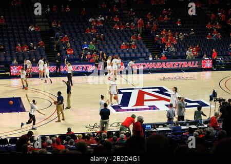 Arizona Vs Stanford Girls University Basketball game at the UofA McKale Memorial center basketball arena in Tucson AZ - Stock Photo