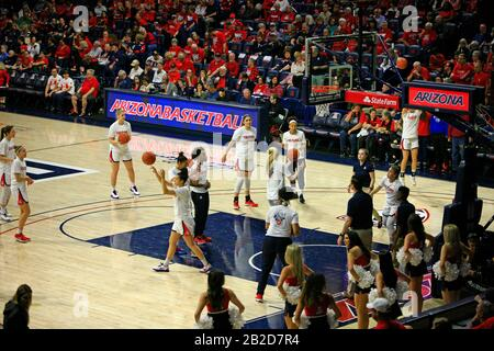 Arizona Vs Stanford Girls University Basketball game at the UofA McKale Memorial center basketball arena in Tucson AZ - Stock Photo