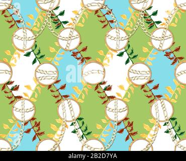 Golden chains with colorful floral pattern.Seamless textile print. Fabric design. - Stock Photo