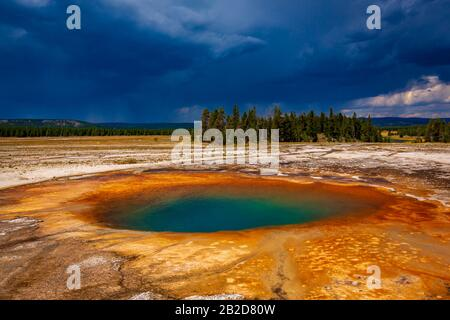 Opal Pool is a hot spring in the Midway Geyser Basin of Yellowstone National Park