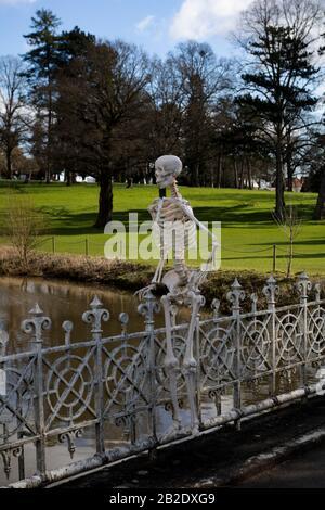 Skeleton Bridge Halloween 2020 A Skeleton stood on a bridge, Droitwich Spa, Worcester, United