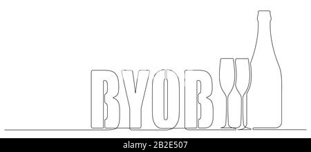 BYOB, bring your own bottle one continuous line drawing style illustration for your design. - Stock Photo