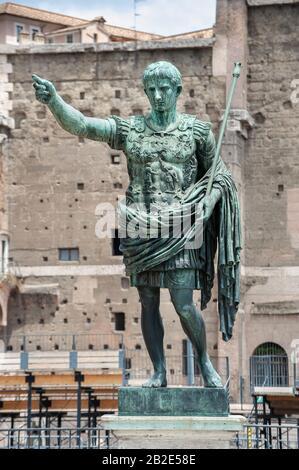 Bronze statue of the first Roman Emperor Augustus Caesar on the Via dei Fori Imperiali, Rome, Italy - Stock Photo