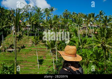 Young girl wearing a straw hat standing on a rice terrace in Bali - Stock Photo