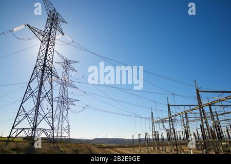 Power line and electrical substation Stock Photo