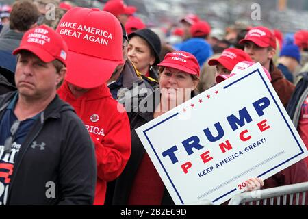 Supporters of President Donald Trump wait in line before a 2020 campaign rally Dec. 10, 2019, at Giant Center in Hershey, PA. Stock Photo