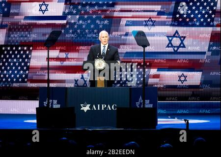 Washington, DC, USA. 2nd Mar, 2020. March 2, 2020 - Washington, DC, United States: Vice President MIKE PENCE speaking at the American Israel Public Affairs Committee Policy Conference. Credit: Michael Brochstein/ZUMA Wire/Alamy Live News - Stock Photo