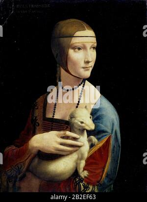 The Lady with an Ermine (Portrait of Cecilia Gallerani) (circa 1490) by Leonardo da Vinci - Very high quality and resolution image - Stock Photo