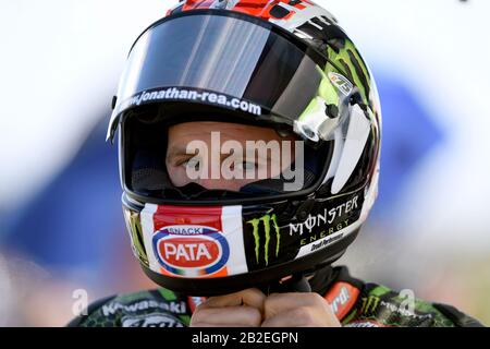 Jonathan Rea (GBR) prepares his helmet for the Sunday Superpole. WorldSBK 2020. Phillip Island Circuit, Victoria, Australia. 1st March 2020 - Stock Photo