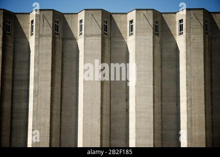 Agricultural building dedicated to the storage of cereal crops. - Stock Photo