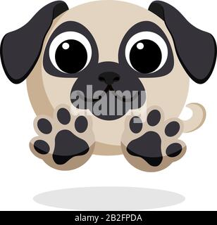 dog in flat style vector image. Cartoon character. Flat vector stock illustration on white background - Stock Photo