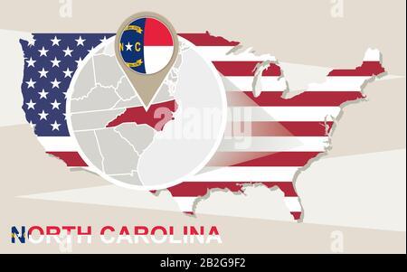 USA map with magnified North Carolina State. North Carolina flag and map. - Stock Photo