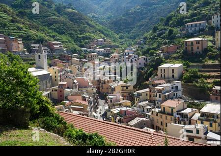 Riomaggiore overlooks the sea in the province of La Spezia, is in the natural park of the Cinque Terre in Liguria, in north-western Italy. It is on the UNESCO World Heritage list