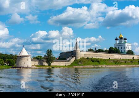 View of Pskov Krom from the Bank of the Velikaya river, a fine summer day