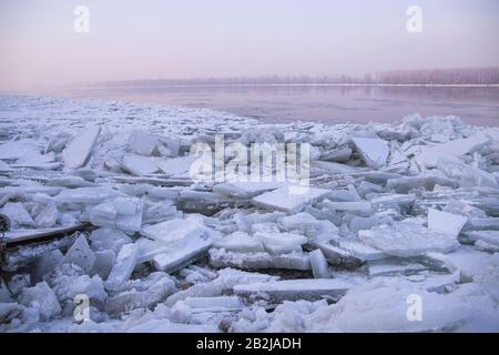 Lots of ice cubes on the Danube river, Belgrade Serbia - Stock Photo