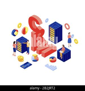 CRM database isometric vector illustration. Client data storage, marketing automation software 3d concept isolated on white background. Ecommerce