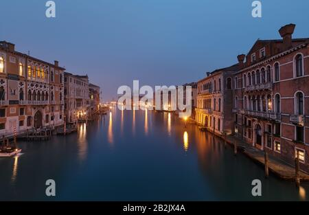 Foggy morning at Grand Canal and in the background the Basilica Santa Maria della Salute,view from Ponte dell' Accademia bridge