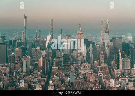 three new supertall skyscrapers under construction in New York - Stock Photo