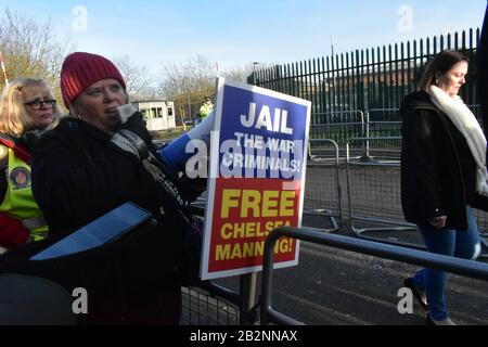 London/UK - February 26 2020: Woolwich Crown Court Extradition case of Julian Assange is beginning in front of a judge, protesters with banners amass