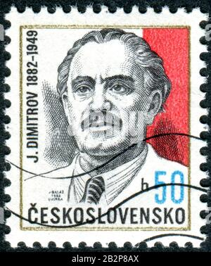 CZECHOSLOVAKIA - CIRCA 1982: A stamp printed in Czechoslovakia, depicts a portrait of the Bulgarian communist Georgi Dimitrov, circa 1982 - Stock Photo