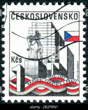 CZECHOSLOVAKIA - CIRCA 1982: A stamp printed in Czechoslovakia, issued to the 50th of Zizkov Hill National monument, circa 1982 - Stock Photo